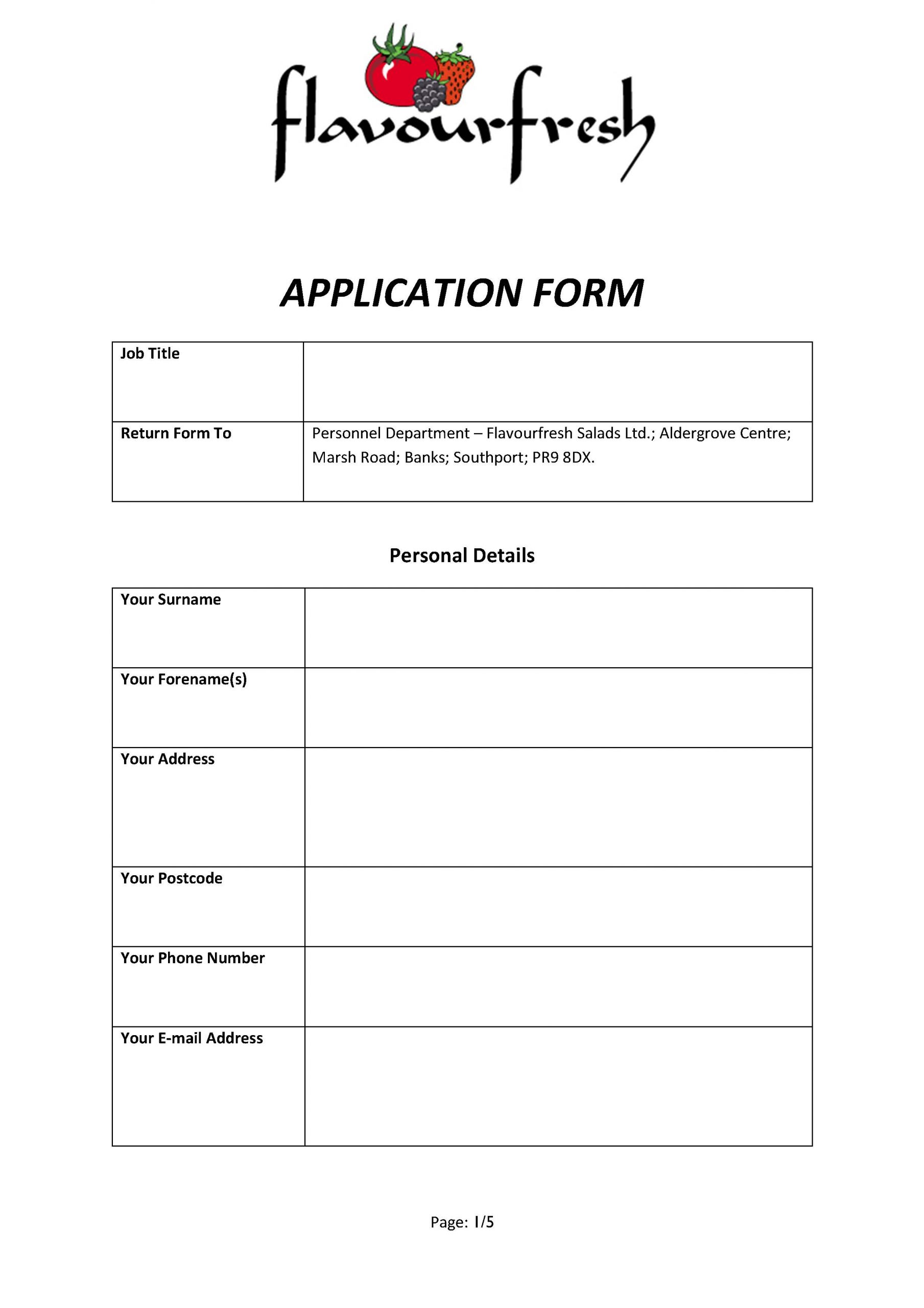 Flavourfresh Application Form 2021
